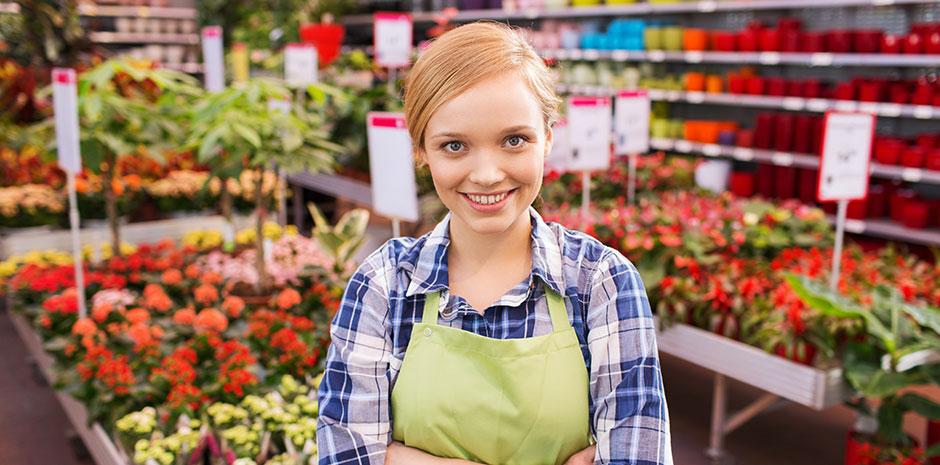 En dame som eier sin egen blomsterbutikk - selskapsrett